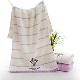 Wholesale Towels Cotton 34 - Manufacturers wholesale cotton lavender towels, soft water-absorbing household cotton towel, 34 * 74cm, 2 colors, free shipping