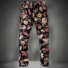 a3f982518ea7 Men's Pants Man Floral Print Pencil Elastic Waist Capris Drawstring Boys  Guys Plus Size M-5XL Trousers Male Comfortable Pants Joggers A159
