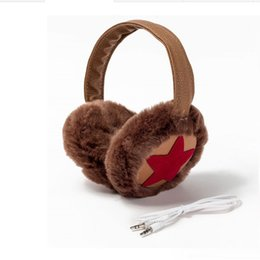 Wholesale Earphone Earmuffs - winter warm fur music earphones faux fur earmuffs ear headset fashion faux fur head decor ear muffs AA0024