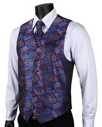 Wholesale Suit Vest Cravat - Wholesale- VE15 Purple Blue Paisley Top Design Wedding Men 100% Silk Waistcoat Vest Pocket Square Cufflinks Cravat Set for Suit Tuxedo