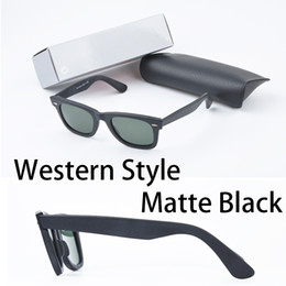 Wholesale Wholesale For Men - Western Style brand Sunglasses Brands for women men Europe style classic matte black square UV400 mens big angle sunglasses with box