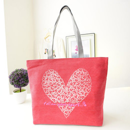 Wholesale cell phone bag pattern free - Wholesale- Women fashion hand bag women 2016 Modern Canvas Heart Heart-Shaped Print Pattern Shopping Shoulder Bags Handbag Beach free ship