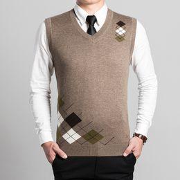 Wholesale Men Sleeveless Sweaters - Wholesale-Latest style fashion design V neck sleeveless mens argyle wool sweater vest