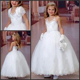 Wholesale Lace Wedding Gown Boleros - Flower Girls Holy Communion Dresses 2017 Spaghetti Steaps Ball Gown White First Communion Dress with Bolero Jacket