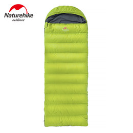 Wholesale ultralight sleeping bag down - Wholesale- Naturehike 3 Colors Portable Envelope Sleeping Bag Winter Ultralight 2200x750mm Camping Travel Home Down Feather Lazy Bag 1.7kg