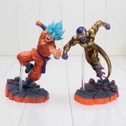 Wholesale Dragon Ball Freeza - 2pcs lot Dragon Ball Z Super Saiyan Goku Son Freeza Ultimate Form Combat Edition PVC Action Figure Collectible Toys