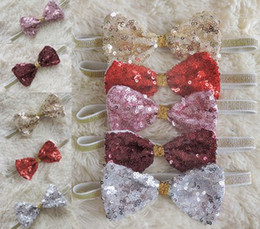 Wholesale Sequin Bowknot Hair - New Sequins Bowknot Baby Girls Headband Shinning Bow Toddler Hair Accessories Elastic Hair Band Decorations Girls Hairwear B4461