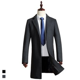 Wholesale Mens Wool Cashmere Blend Overcoats - Wholesale- Custom Made Men's Wool Jackets Autumn Winter Brand Men Woolen Coats Middle Long Jackets And Coats Mens Warm Wool Overcoat Size