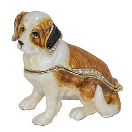 Wholesale Dogs Decoration - Pewter Enamelled Saint Bernard Dog Trinket Jewelry Box Collection Gift Dog Decoration