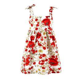 I capretti abbottonano il vestito online-Rose Flower Girls Summer Dress Bambini Beach Clothes Fashion Summer Backless vestido Kids Jumper Brace Abiti di un pezzo