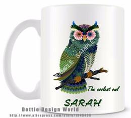 Wholesale Travel Mugs Wholesale China - Wholesale- 2017 New arrival Personalized coolest Owl Ceramic white coffee mug cup funny novelty travel mug Custom Birthday Easter gifts