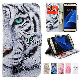 Wholesale Plastic Card Printing - For Galaxy S7 Wallet Leather Phone Case Printed Pattern with TPU inner Stand Cover Card Slots for Samsung S7