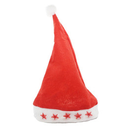 Wholesale Medium Hat Size - Nonwoven Red Five Star Light cap Santa Claus Easter Christmas Night Party Hat Cap Adult Size Christmas Santa Xmas Light Hat
