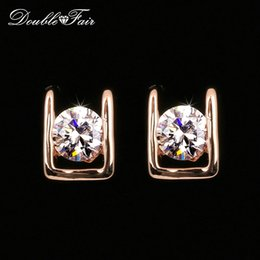 Wholesale Rose Numbers - Simple OL Style AAA+CZ Diamond Stud Earrings Silver Color Rose Gold Plated Fashion Party Wedding Crystal Jewelry For Women Girls DFE216