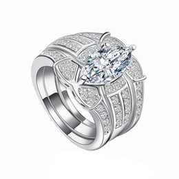 Wholesale Wedding Bridals - 3 Rounds Cubic Zirconia Paved Engagement Rings Sets Silver Color Wedding angel's eye Crystal Rings Jewelry For Women Bridals Bijoux