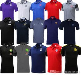 Wholesale Drop Shipping Shirts - Wholesale-2016 2017 Summer Hot Sale Polo Shirt Real Madrid Dortmund Chelsea Polos Men Short Sleeve Sport Polo Unite Coat Drop Free Shipping