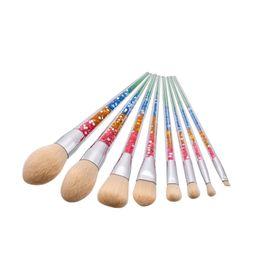 Augenbrauen make-up glitter online-Sinle 8-teiliges Make-up-Pinsel-Set Bunter Glitzer-Diamant-Griff Make-up-Werkzeuge Rougepuder Augenbrauen Lidschatten Gesicht Regenbogenpinsel