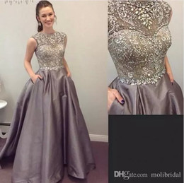 Wholesale Jewel Sparkly Evening Dress - Puffy Elastic Satin Evening Dresses With Sparkly Crystals Beading A-Line Prom Dress 2017 Spring Sheer Cap Sleeves Special Occasion Gown 2017