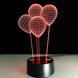 Wholesale Wooden Base Lamp - Wholesale- Creative 3D Balloon Illusion LED Acrylic Wooden Base Desk Table Lamp RGB Nightlight USB Remote Control for Home Decor