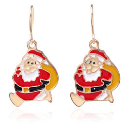 Wholesale One Friend - Hot selling Best Bitches one pair Santa Claus earrings red earring cheap Dangle & Chandelier for christmas gift for friend or lover