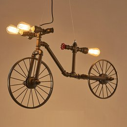 Wholesale Cycling Pendant - Pendant lighting nordic retro iron industrial cycling pipe pendant lamps creative personality restaurant bar cafe bedroom pendant lights