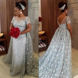 Wholesale Beaded Lace Brown Bridal Wraps - Modest Plus Size Silver Lace Prom Party Dresses With Short Sleeves Jewel Neck Sexy Backless Detachable Train Arabic Women Formal Bridal Gown