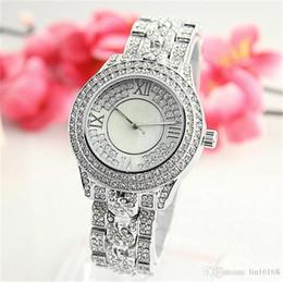 Wholesale Michael Watch Men - 2017 Luxury Imitation Conch Dial Ma'am Watches Man Women's Michael Quartz Rhinestones Diamond inlay Clock dial Fashion Watches Wholesale