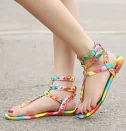 ce4875c704ad rainbow sandals Promo Codes - Size 34-45 New Women Shoes Flats Multicolor  Rivets Sandals