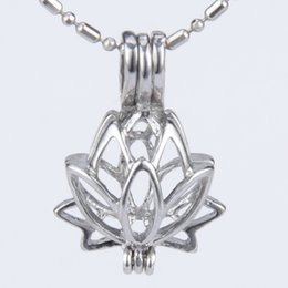 Wholesale Lotus Flowers Wholesale - 5pcs silver plated Lotus flower shape cage pendant 15*8*21mm Fashion Charm Jewelry