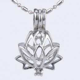 Wholesale Lotus Wholesale - 5pcs silver plated Lotus flower shape cage pendant 15*8*21mm Fashion Charm Jewelry