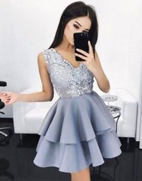 Wholesale Mini Lace Tiered Short Skirts - 2017 Simple Fashion V Neck Short Cocktail Dresses Lace Appliqued Tiered Skirts Mini Short Prom Dresses Cheap Formal Party Wear Custom Made