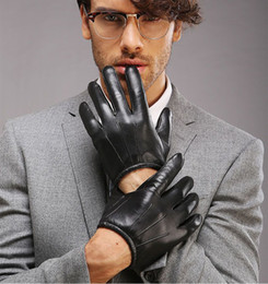 Wholesale Thin Gloves For Men - Wholesale- New Genuine Leather Glove For Men Short Thin Suede Glove Fashion1 Pair Lots XL L M S