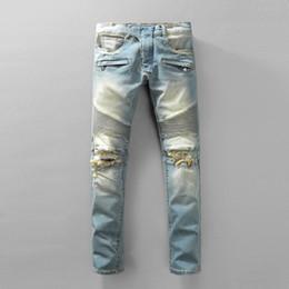 Wholesale Vintage Pants Men Plaid - Fashion Mens Jeans Brands Distrressed Hole Rock Revival Ripped Jeans Motorcycle Biker Casual Regular Fit Skinny Designer Jeans For Men