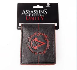 logotipo do credo assassins Desconto Venda Por Atacado- Excelente Qualidade Assassins Creed Logo Vermelho Carteira Com Tag Brand New