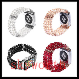 Wholesale Watch Band Beads - For Apple Watch Band Pearl watchband replacement 38MM 42MM straps beautiful shining Jewelry beads metal connector for smart