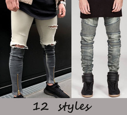 Wholesale Brown Skinny Jeans Mens - 2017 Mens Skinny jeans Casual Slim Biker Jeans Denim Knees Hole hiphop Ripped Pants Washed High quality Free Shipping