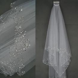 Cristal afiado véu da catedral on-line-Véus de noiva real da catedral elegante rendas afiadas cristal strass pente de casamento véu de noiva requintado frisado à mão véu