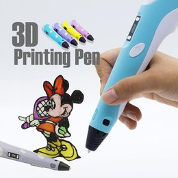 Wholesale 3d Printer Lcd - Kids Adjustable 3d drawing pen diy 3d printer pen With LCD Screen 3d stereoscopic printing pens educational toys for gifted and children