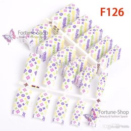 Wholesale Order Wholesale China - Wholesale-50pcs Stylish designed acrylic fake Nail Tips false nails F126-50 ( Minimum Order $10 Via China Post Registered Air Mail )