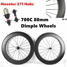 Wholesale Novatec Hubs Price - Dimple Wheels 700C 80mm Full Carbon Road Bike Wheels UD Matte Carbon Wheelset With Novatec 271 Hubs 20 24 Holes Factory Price