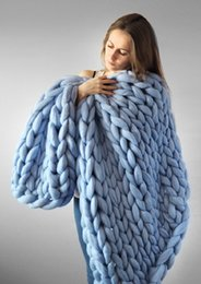 Wholesale thick warm blankets - 1PC Crocheted Bed Sofa Blanket For Beds Home Warm Thick Thread Winter Blanket For Adults Blankets European Home Textile