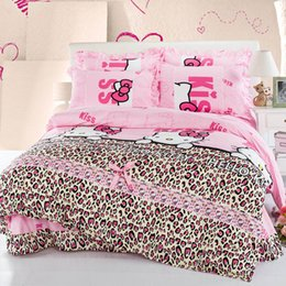 Wholesale Aqua Duvet King - Free DHL Luxury Bedding Set pink Hello Kitty Bedding Supplies 4pcs  set Duvet cover &Bed Sheet & 2 pillow case queen size Home Textiles