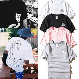 Wholesale Cat T Shirts Women - ripndip cat in pocket t shirt 2017 sport casual rip n dip t shirt men women students love funny ripndip t shirt YBF0914
