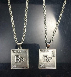 Wholesale Ba Jewelry - Breaking Bad Necklace Chemical Symbol Br Ba 2 Square Pendants Love Badge for Couple Necklaces Unisex Statement Movie Jewelry