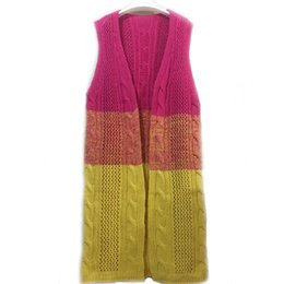 Wholesale Open Sweater For Women - Wholesale- Fashion Autumn&Winter Knitted Crochet Sweater for Women Long Twisted cardigan Open stitch sleeveless female sweaters plus size