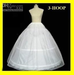 Wholesale Ivory Crinoline Petticoat - Hot sale 3 Hoop Ball Gown Bridal Petticoat Bone Full Crionline Petticoat Wedding Skirt Slip New