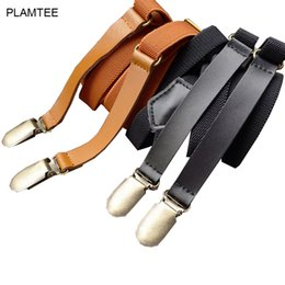 Wholesale Wholesale Womens Suspenders - Wholesale- Solid Vintage Adult Suspenders with Clips 2017 Elastic Pant Braces for Mens Womens Jartiyer All Match Soft Suspensorio Unisex