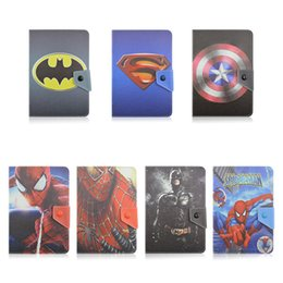 Wholesale Lenovo Tablet Skin - Universal Avengers Super Hero Superman Batman Spiderman Flip PU Leather Case Cover for 7 8 10 inch iPad Huawei Lenovo Samsung Tablet PC