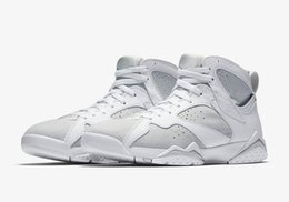 Wholesale Money Fishing - 2017 Mens Air Retro 7 Pure Money Basketball Shoes Men Shoe Retro 7s Pure Platinum Discount high quality running Sport Sneakers with box