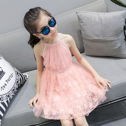 Wholesale Baby Girls Singlet Dress - Kids Dress 2017 Children Girls Babies Embroidered Gazue Dresses Child Girl Fashion Singlet Dress Girls Summer Baby Vest Clothing 5 Pcs lot B